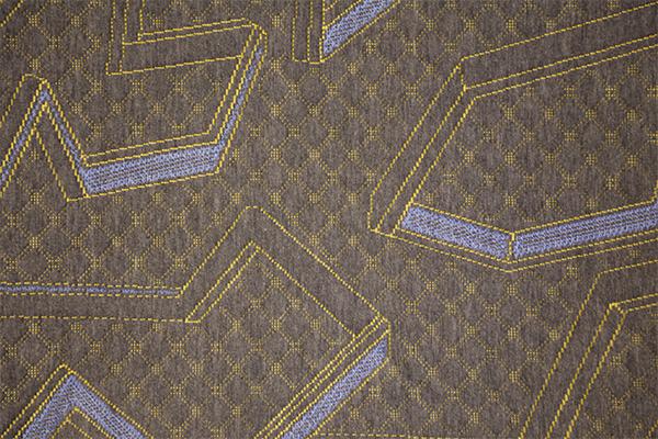 Capa de aire de punto geométrico azul amarillo gris cáñamo